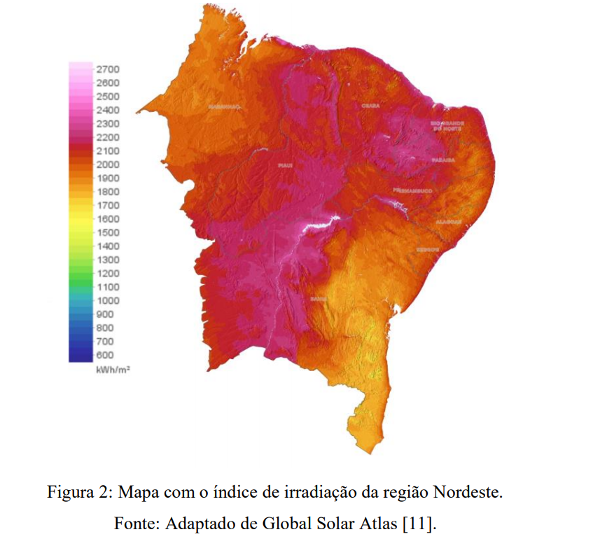 Mapa com o índice de irradiação da região Nordeste.