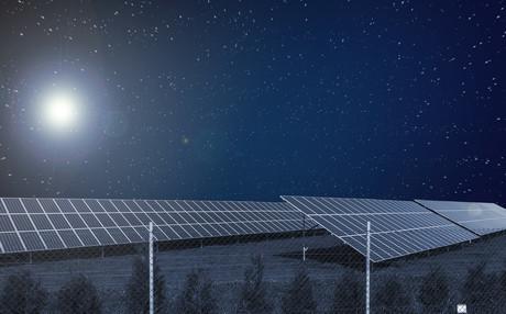 painel solar a noite